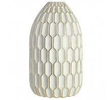 Load image into Gallery viewer, White & Gold Honeycomb Vase