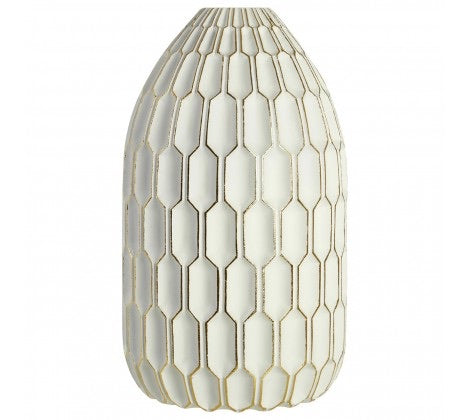 White & Gold Honeycomb Vase