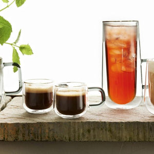 Double Wall Set of 2 Espresso Glass Cups 9cl