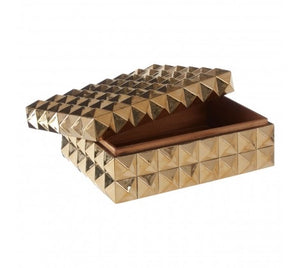 GOLD FINISH PYRAMID STUD TRINKET BOX