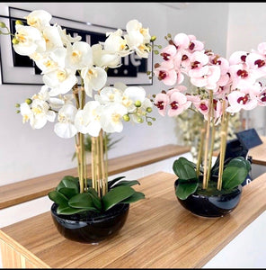 Large Artificial Orchids in Ceramic Pot