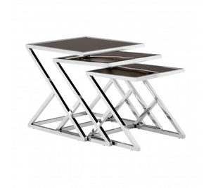 Nest Of 3 Tables With Silver Frames
