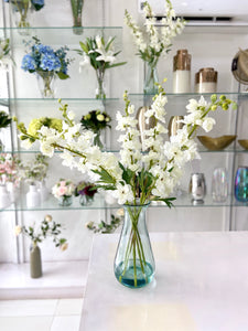 Artificial Delphinium in Recycled Vase