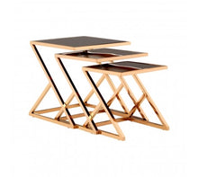 Load image into Gallery viewer, SET OF 3 ROSE GOLD FINISH NESTING TABLES