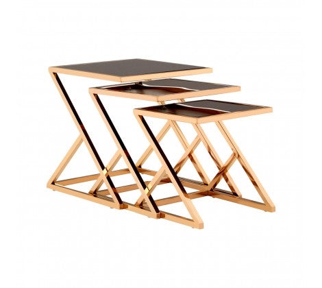 SET OF 3 ROSE GOLD FINISH NESTING TABLES