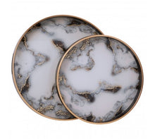 Load image into Gallery viewer, Celina Set Of 2 Marble Effect Serving Trays