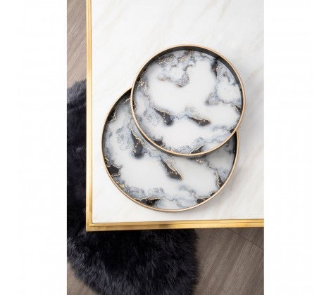 Celina Set Of 2 Marble Effect Serving Trays