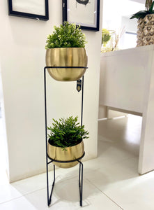 Two Tier Gold Planter Set 86cm