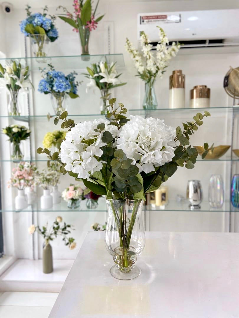 Large Hydrangeas in Footed Vase 65cm