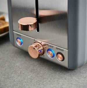 Tower Cavaletto Grey & Rose Gold Kettle and 2 Slice Toaster Set