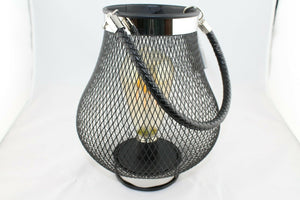 Wire Led Hanging Iron Lantern - Round or Teardrop
