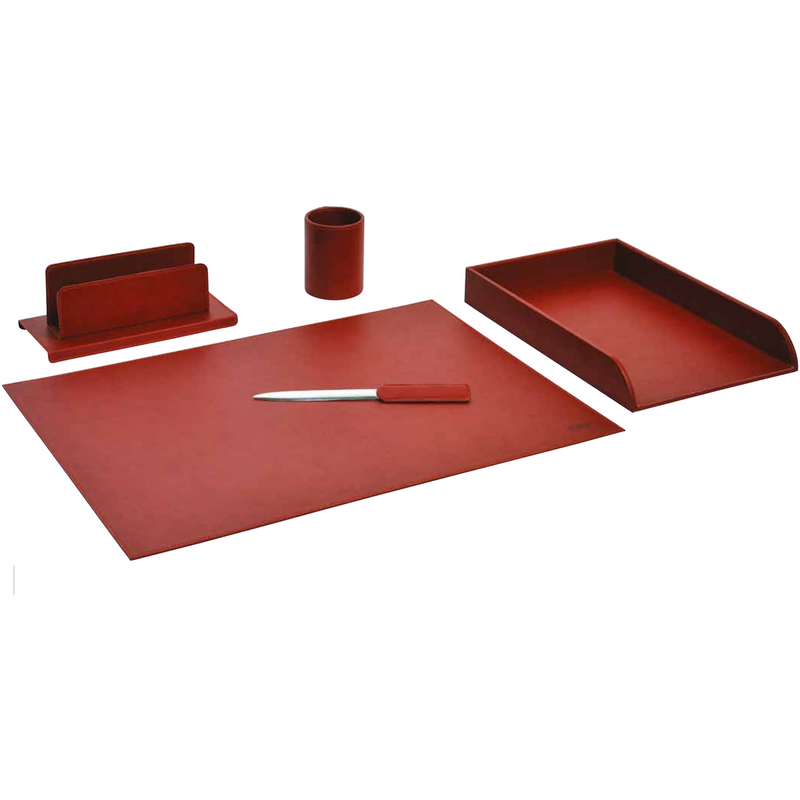 Munari Desk Set - 5 Pieces (Red Bordeaux)