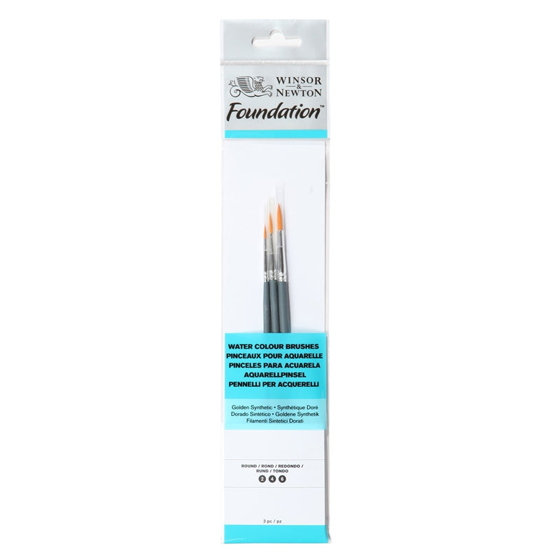 Winsor & Newton Foundation Water Color Brush - Set of 3 (Short Handle)