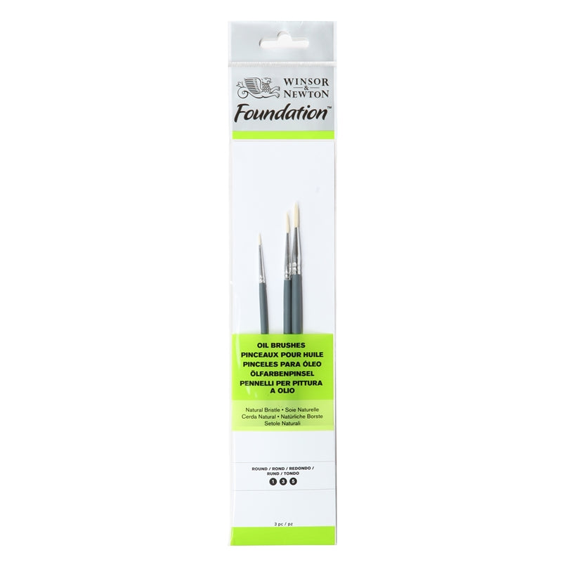 Winsor & Newton Foundation Oil Brush - Set of 3 (Short Handle)