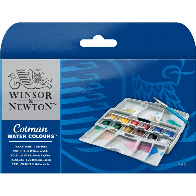 Winsor & Newton Cotman Water Color Pocket Plus - 12 Half Pans