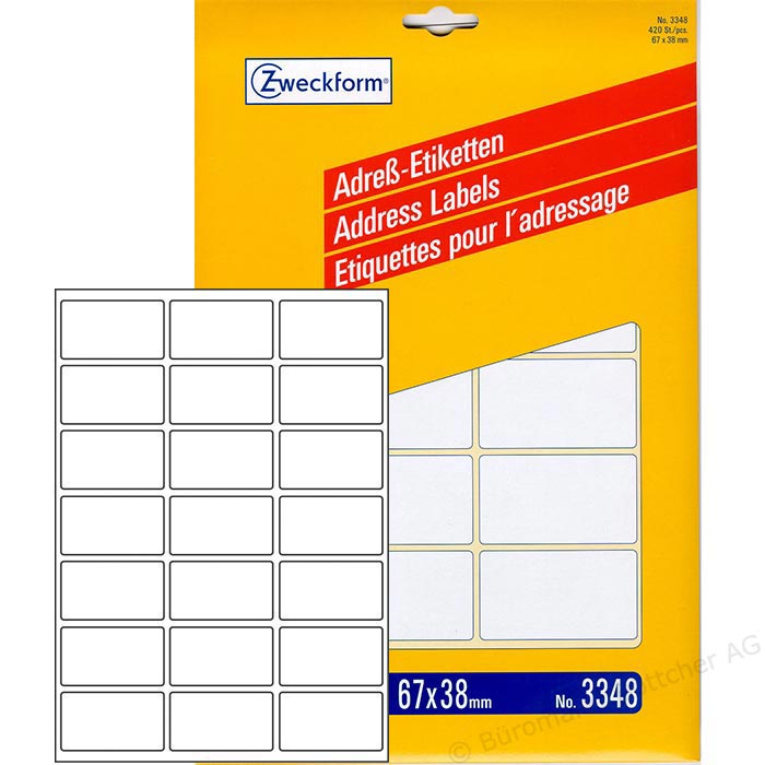 Zweckform A4 Address Labels - Pack of 20