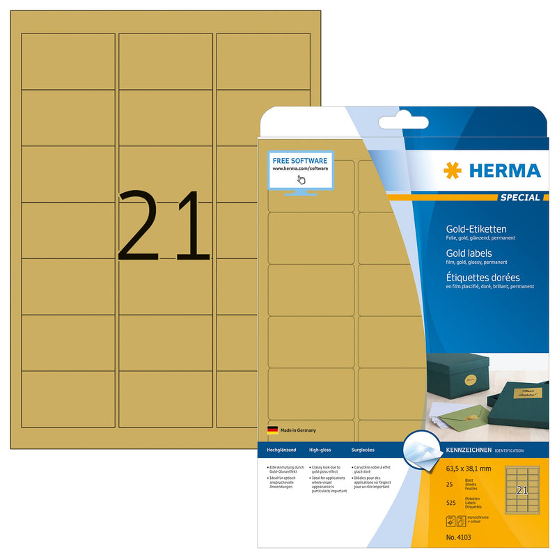 Herma Gold A4 Labels - Pack of 25 Sheets