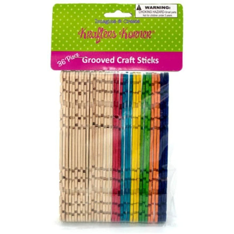 Kole Grooved Colored Craft Sticks / Pack of 36
