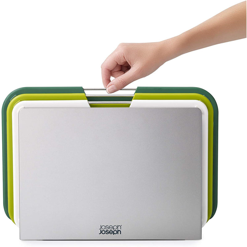 Joseph Joseph Nest Plastic Cutting Set with Storage Stand 3 Different Sized Boards, Large - Green/Grey
