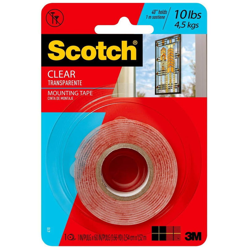 Scotch® Permanent Clear Mounting Tape (Up to 10 lb)