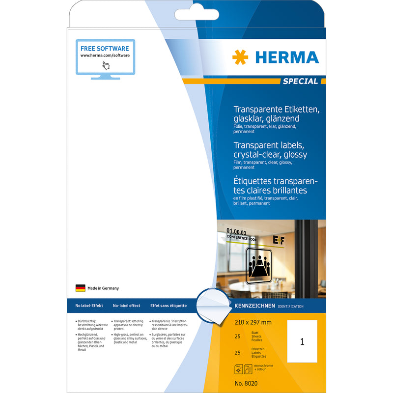 Herma Transparent Glossy A4 Labels - (Laser)