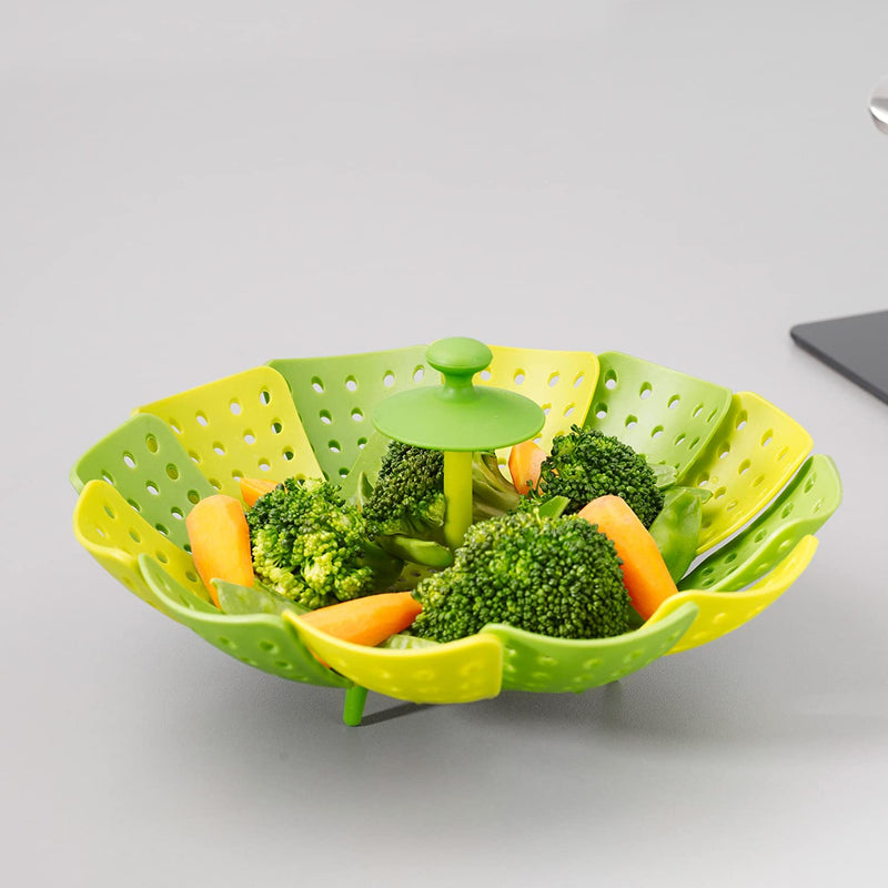 Joseph Joseph Lotus Steamer Basket for Steaming Food and Vegetable Folding Non-Scratch BPA-Free - Green