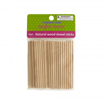 "Kole Natural 4"" Dowel Stick / Pack of 40"