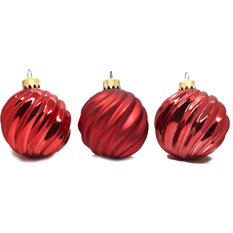 Red Swirly Ornaments - 3 pc