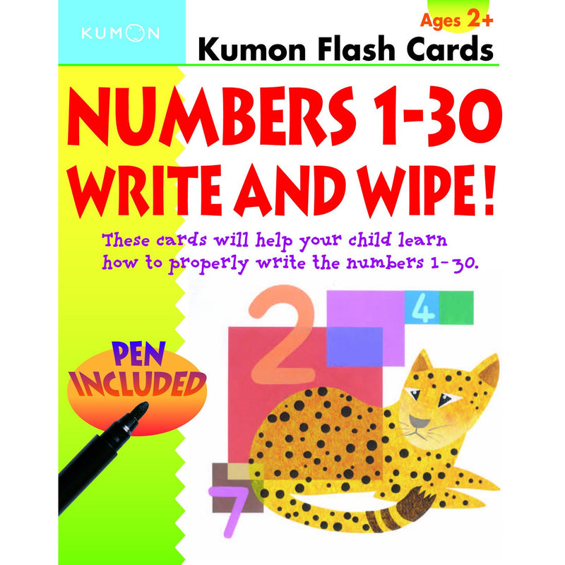 Numbers 1-30 Write & Wipe Flash Cards (Ages 2+)