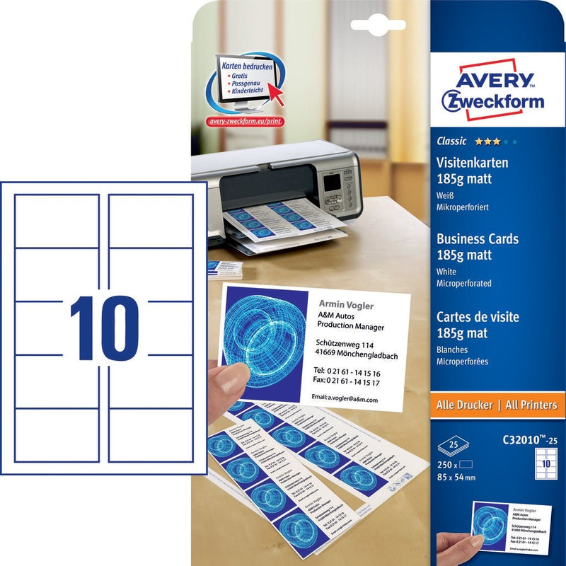 Zweckform Blank Business Cards - Pack of 25 Sheets