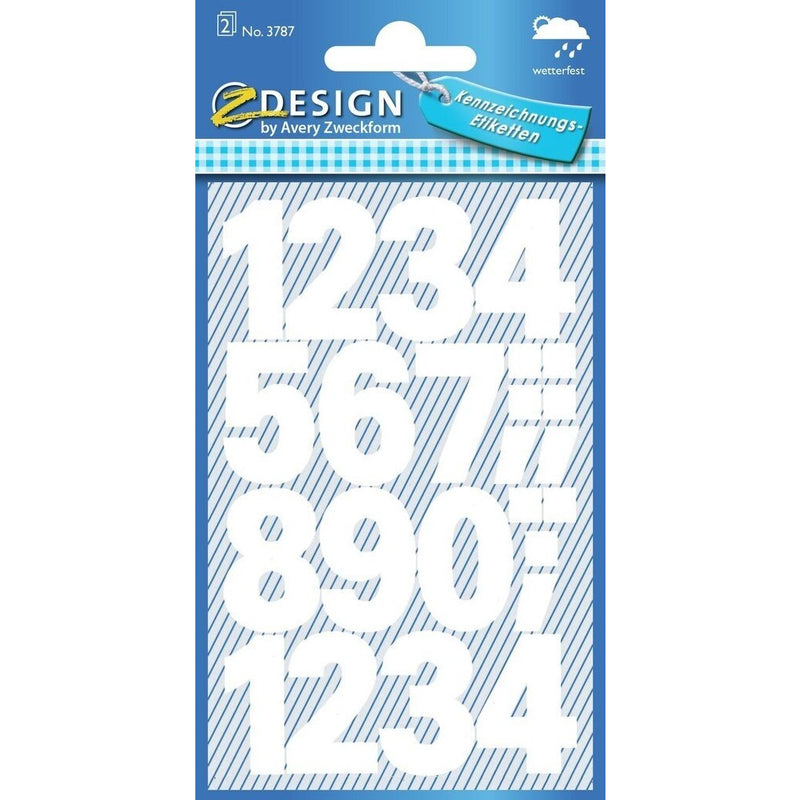Zweckform Numbers Labels - Bold White - Weatherproof