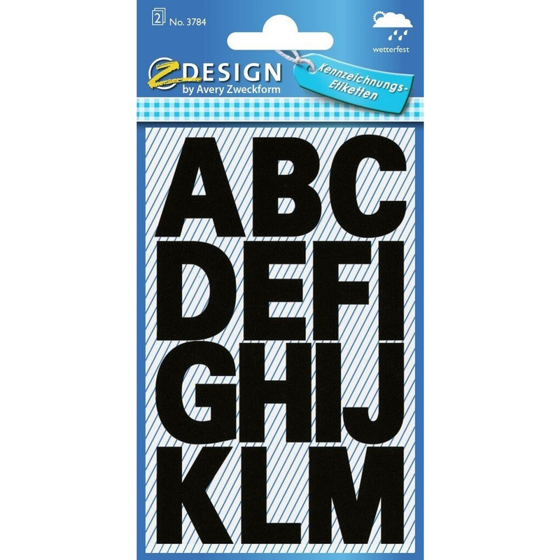 Zweckform A-Z Labels - Bold Black - Weatherproof
