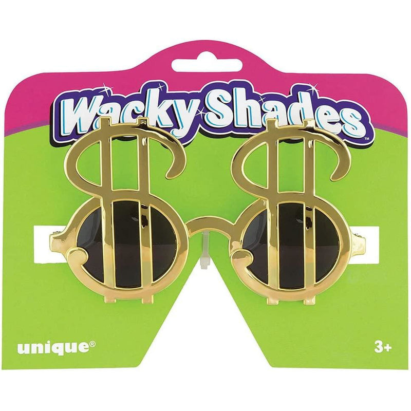 Unique Wacky Shades Novelty Glasses - Gold Dollar Sign