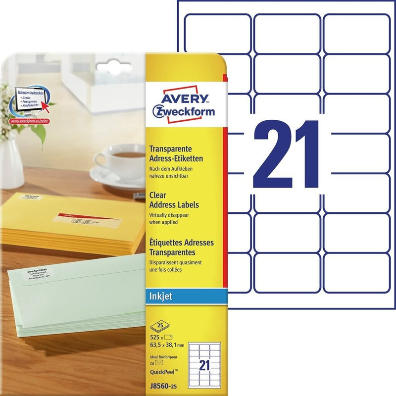 Zweckform A4 Transparent  Labels - (Inkjet)