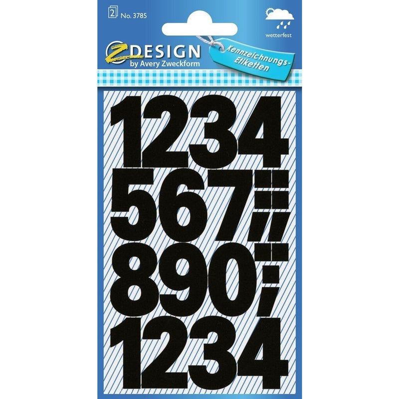 Zweckform Numbers Labels - Bold Black - Weatherproof