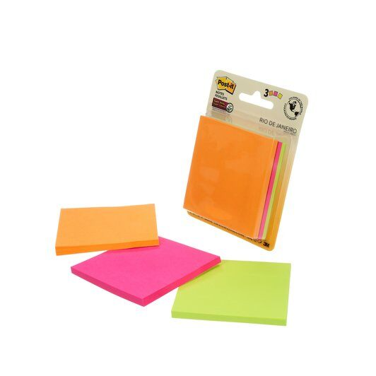 "Post-it® Notes Super Sticky 3""x3"" / Pack of 4 Colored"