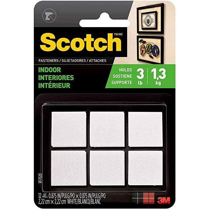 3M Scotch White Indoor Velcro Fasteners - Pack of 12