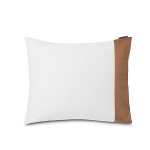 Cotton Sateen Duvet Cover White & Beige Contrast - Sengetøj