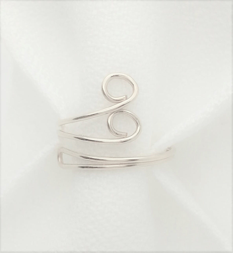 Sterling Silver 925 Swirl and Loops Wrapped Around Toe Ring Adjustable Antiqued