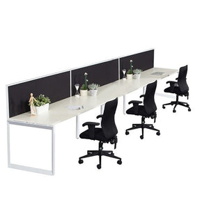 Helix Workstation Single Row with Screen Three Person - Business Base