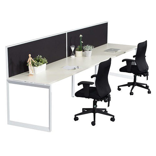 Helix Workstation Single Row with Screen Two Person - Business Base