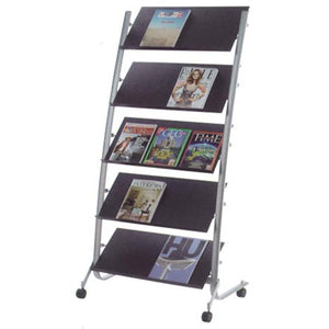 Alba Mobile Floor Brochure Holder Stand - 5 Tier Triple - Business Base