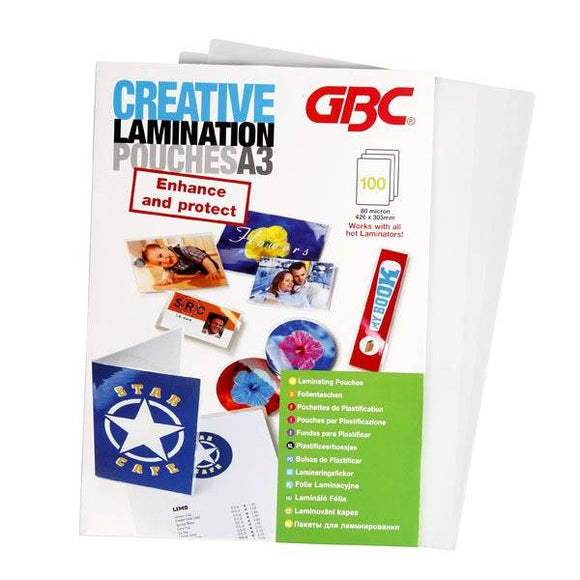 GBC Creative Laminator Pouches A3 80MIC 100PK - Business Base