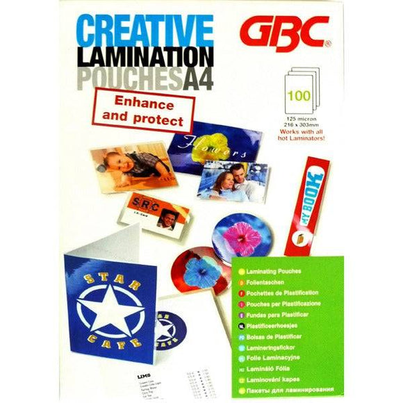 GBC Creative Laminator Pouches A4 125MIC 100PK - Business Base