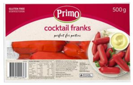 Primo Gluten Free Cocktail Franks 500g