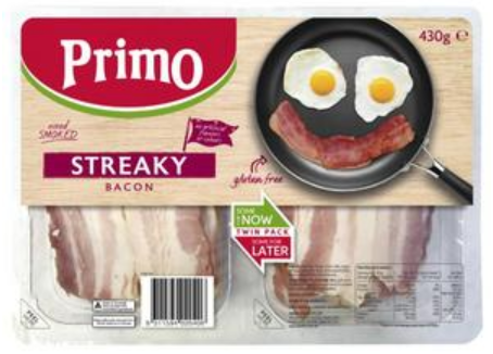 Primo Streaky Bacon Twin Pack 430g