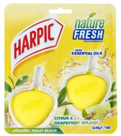 Harpic Citrus Active Fresh Hygienic Cageless Toilet Rim Block 2 pack