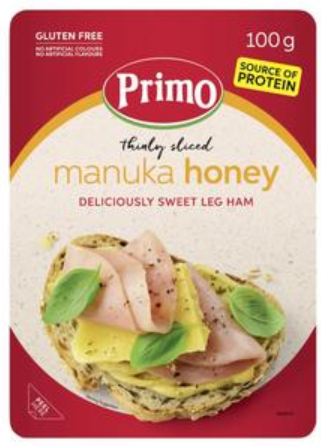 Primo Gluten Free Thinly Sliced Manuka Honey Sweet Leg Ham 100g