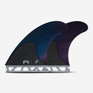 FUTURES MAYHEM / LOST - Large RTM Hex Blue / Violet Signature fins - Thruster set, size Large