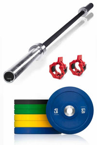 AVAILABLE, Call Us. Olympic Standard Barbell with Bumper Plate Set